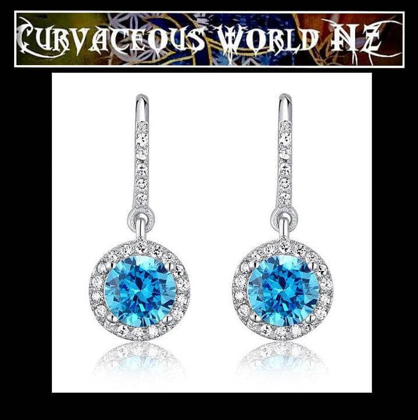 Sophisticated Simulated blue Diamond Sterling Silver earrings