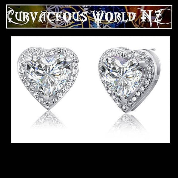 Simulated 3 Carat Diamond Sterling Silver Heart Stud Earrings