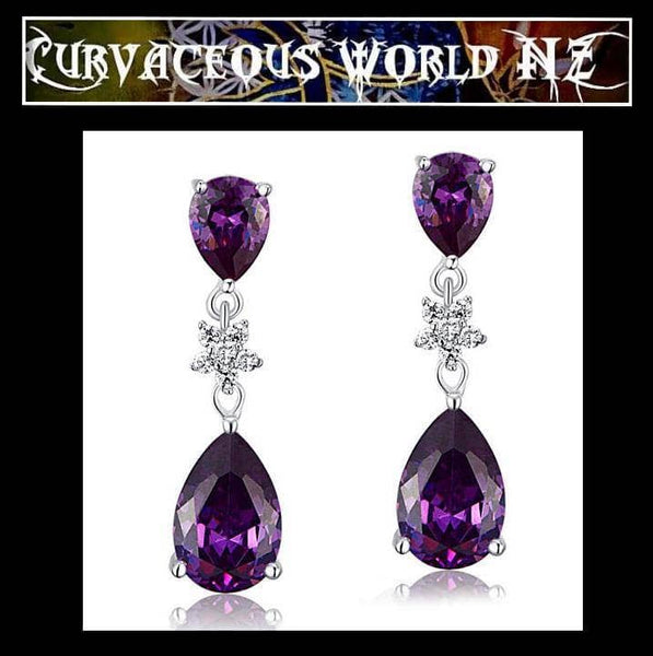 Simulated Diamond-Purple Sapphire Sterling Silver Earrings
