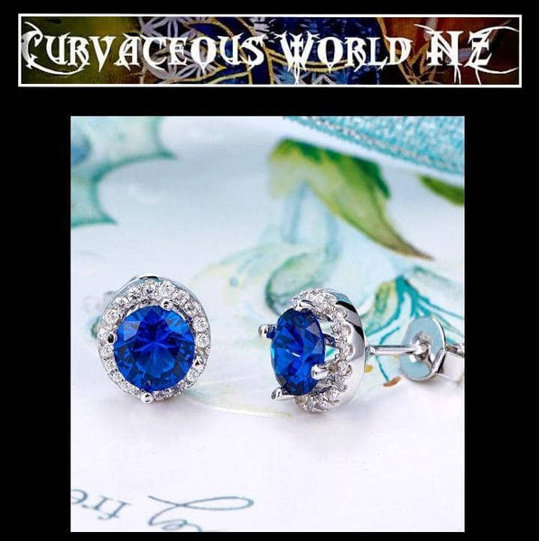 Navy Blue Simulated Sapphire Stud Sterling Silver earrings