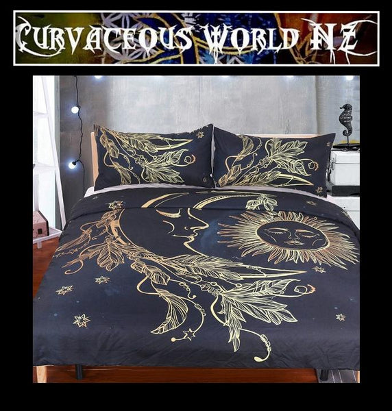 Gold Moon Sun Duvet Cover set