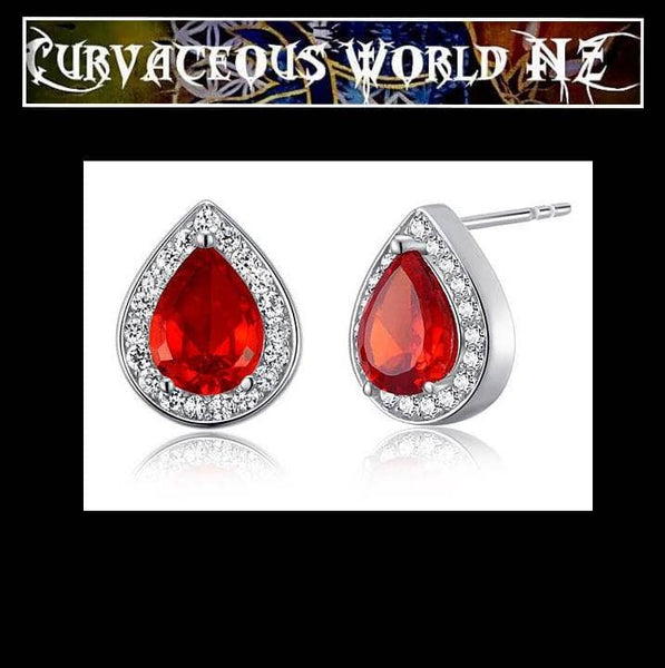 Red Pear shaped Simulated Diamond Sterling Silver Stud Earrings