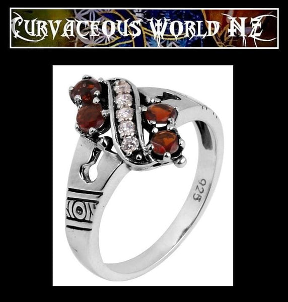 Antique style Garnet CZ sterling silver ring