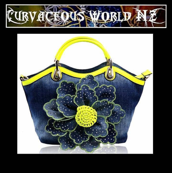 Sweet Rose Trapeze styled Denim Handbag