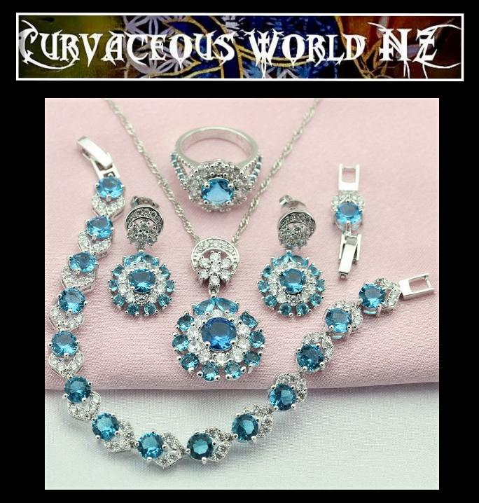 Sky Blue Cubic Zirconia Silver Bracelet Necklace Earrings Ring set