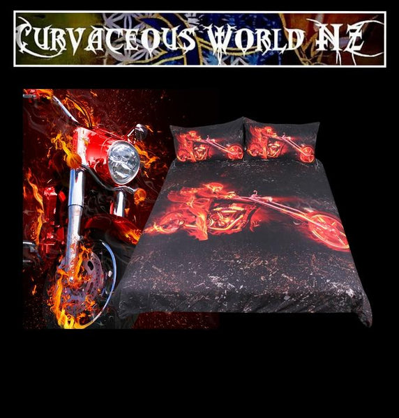 Flame Motorcycle 3D Duvet Cover