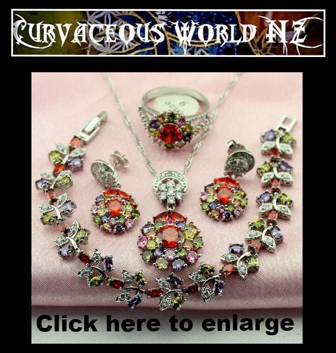 Stunning Silver 4 piece set Multi coloured necklace earrings bracelet cz set