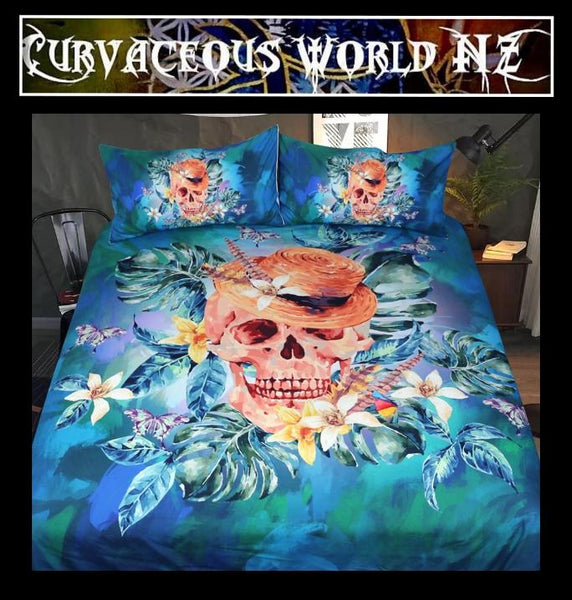 Watercolour Floral Bedding Set Cool Skull With Hat Duvet Cover set