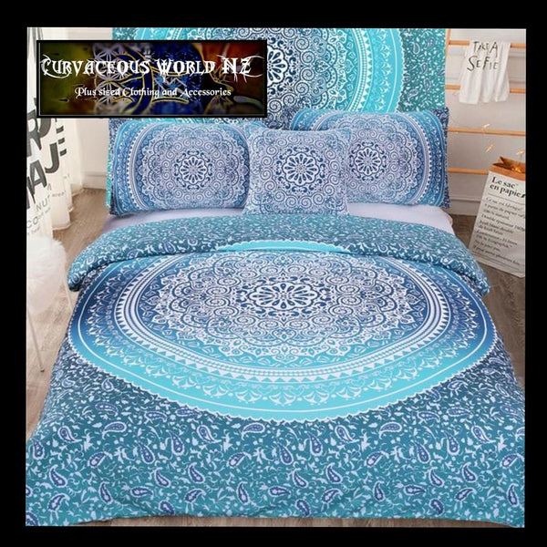 WHAT A BARGAIN 5pcs Boho Blue bedding Set