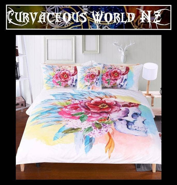 Colourful floral skull duvet cover set - 4 Pieces
