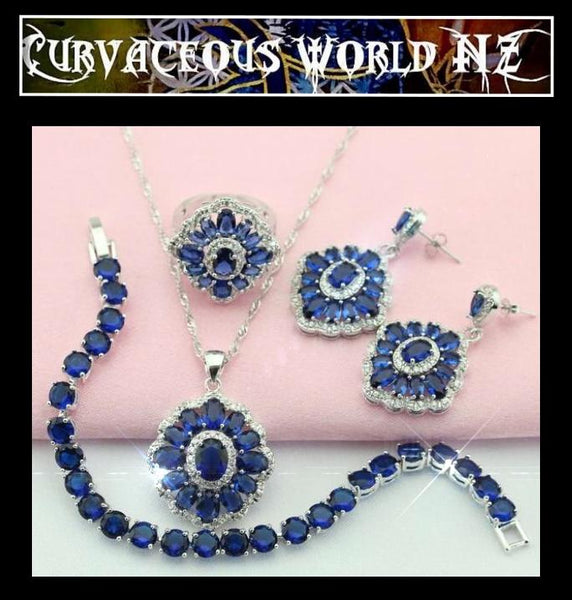 5 piece dark blue flower CZ Silver  Earrings / Bracelet / necklace / Ring set