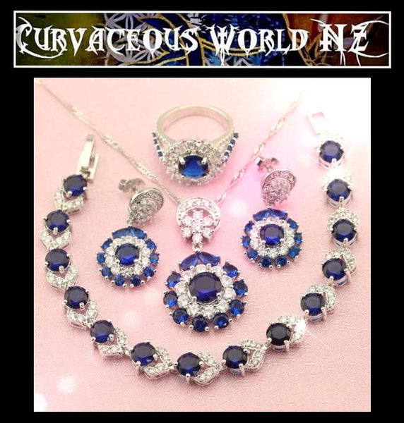 Dark Blue Cubic Zirconia Sterling Silver-Bracelet Necklace Earrings Ring set