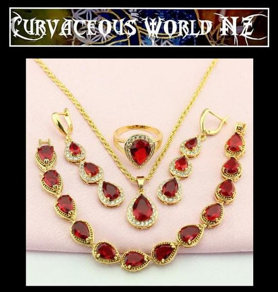 Stunning Red Cubic Zirconia  necklace Jewelry Set