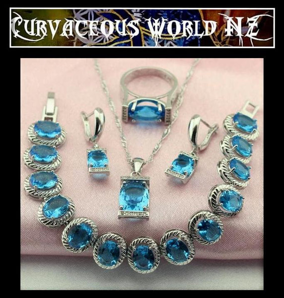 Sky blue Oval Cubic Zirconia, silver Earrings / Necklace / Pendant / Ring / Bracelet set.