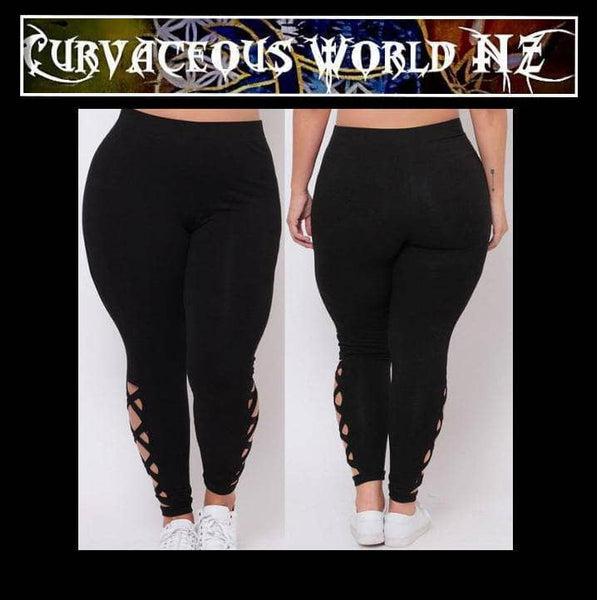 Solid Criss-Cross Hollow Out leggings
