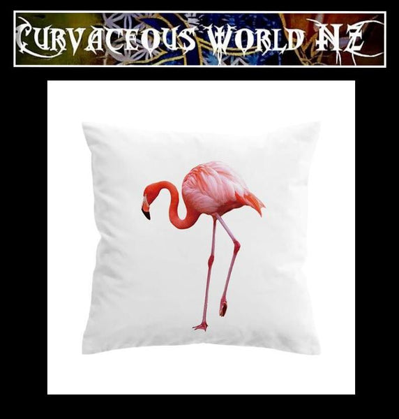 Pink Flamingo on White Cushion Cover - two sizes available