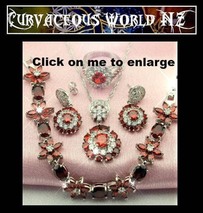 Pomegranate CZ Sterling Silver necklace earrings bracelet ring set
