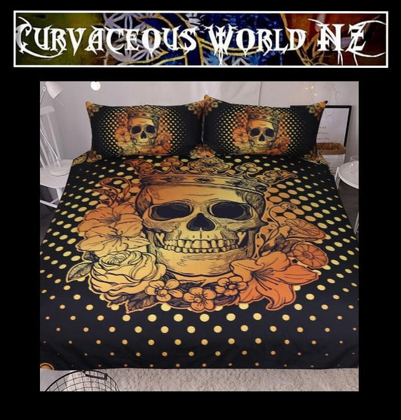 Floral Golden Skull Duvet Cover
