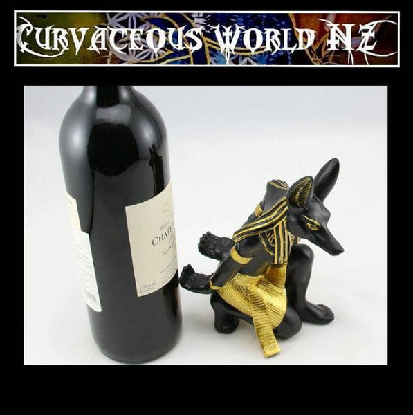 Boho Anubis wine rack sculpture