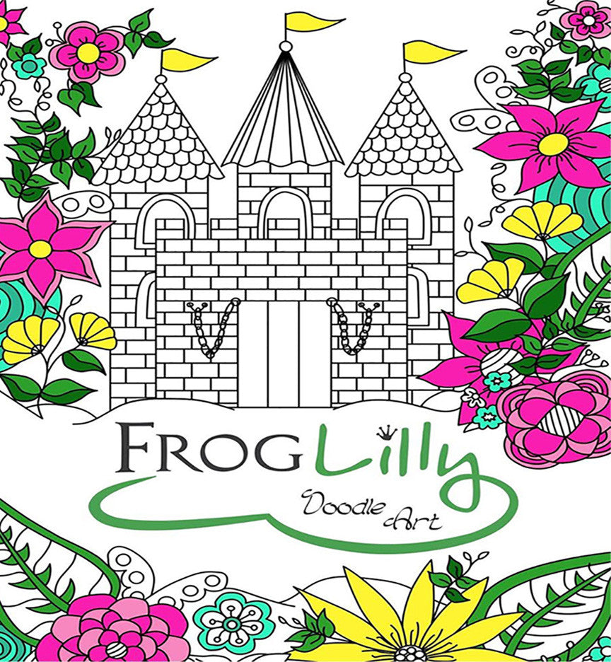 coloring book fun : Froglilly Doodle Art Adult Coloring Book Fun Travel Size W Unique Lay Flat Design
