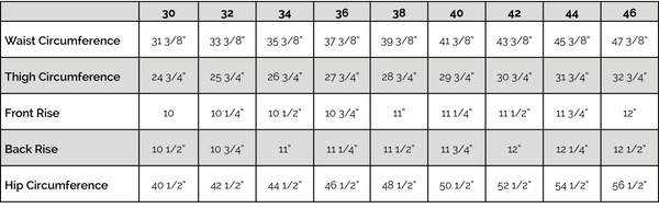 Pants Sizing Chart