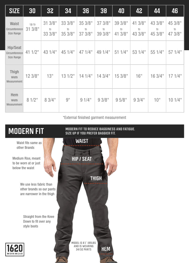 Tech Stretch Pants Sizing and Fit
