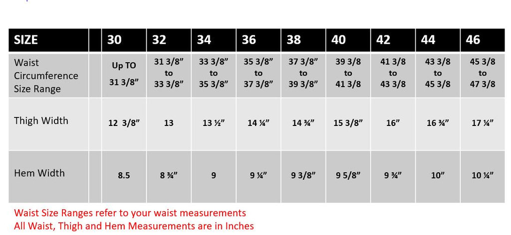 1620 Workwear Pants Size Chart