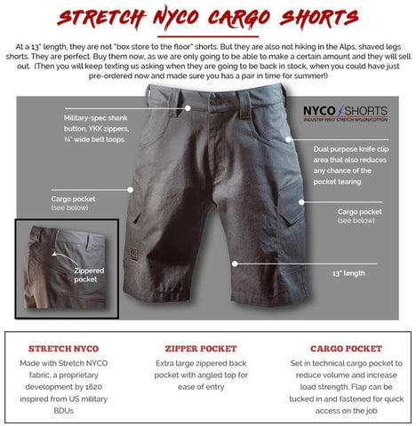 1620 Stretch NYCO Cargo Shorts Diagram