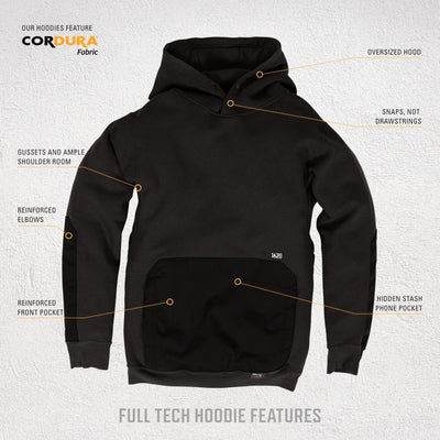 Full Tech Work Hoodie - Reinforced Front Pocket and Elbow