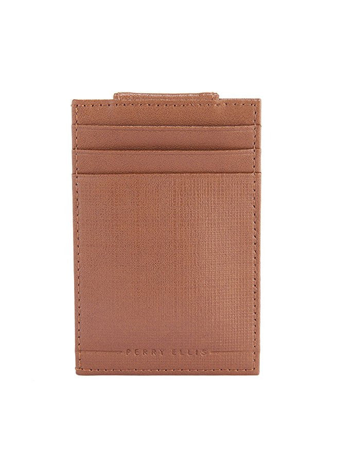 Perry Ellis Front Pocket Wallet with Magnetic Clip Tan