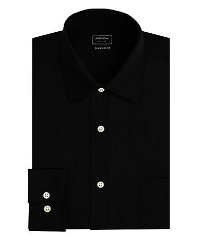 ARROW Regular Fit No Iron Sateen Solid Dress Shirt