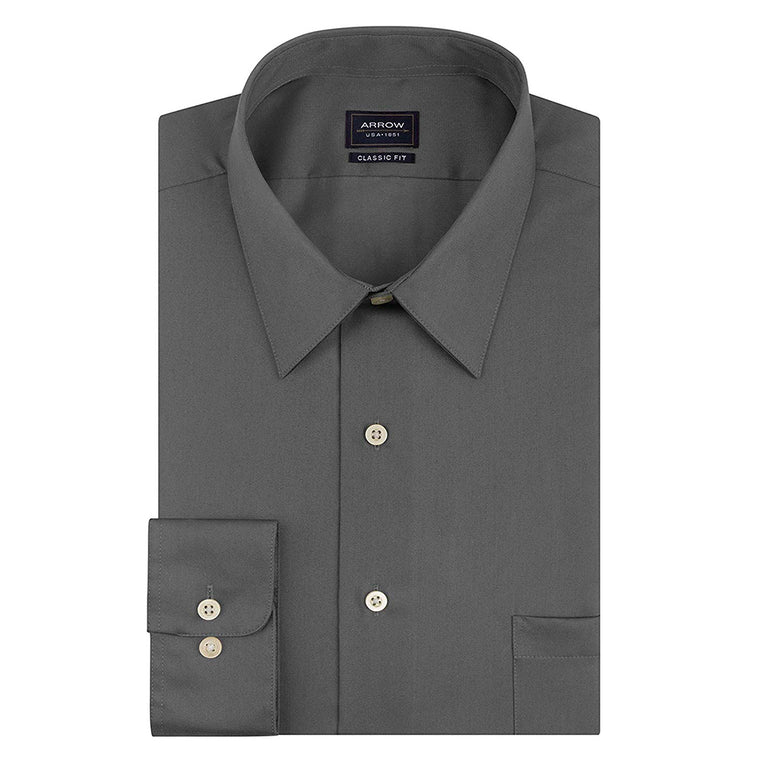 Arrow Men's Sateen Regular Fit Solid Point Collar Dress Shirt - Nickel
