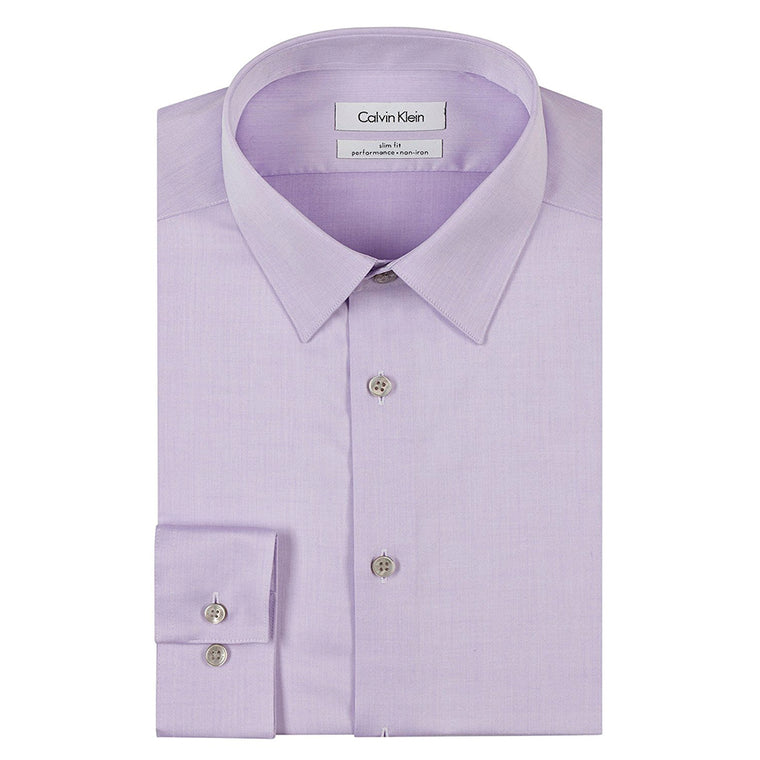 Calvin Klein Men's Slim Fit Non-Iron Herringbone Point Collar Dress Shirt - Lilac