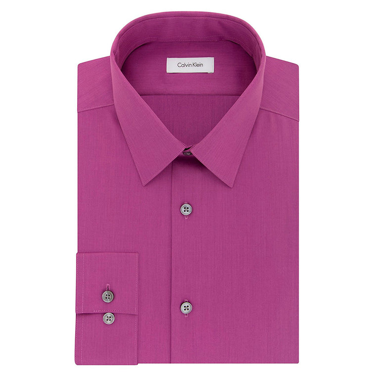 Calvin Klein Men's Slim Fit Non-Iron Herringbone Point Collar Dress Shirt - Carnation