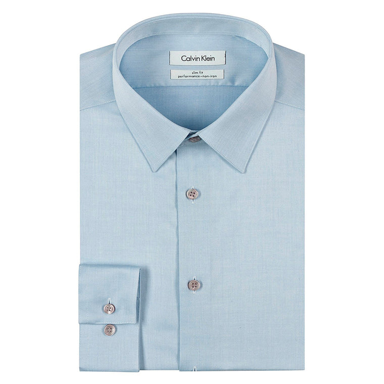 Calvin Klein Men's Slim Fit Non-Iron Herringbone Point Collar Dress Shirt - Blue