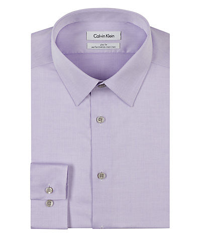 Calvin Klein Steel Slim Fit Non Iron Solid Dress Shirt - Lilac - 33K2479