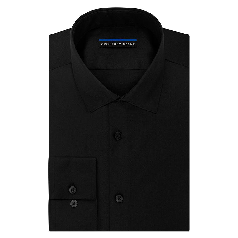 Geoffrey Beene Men's Sateen Fitted Solid Spread Collar Dress Shirt - Black