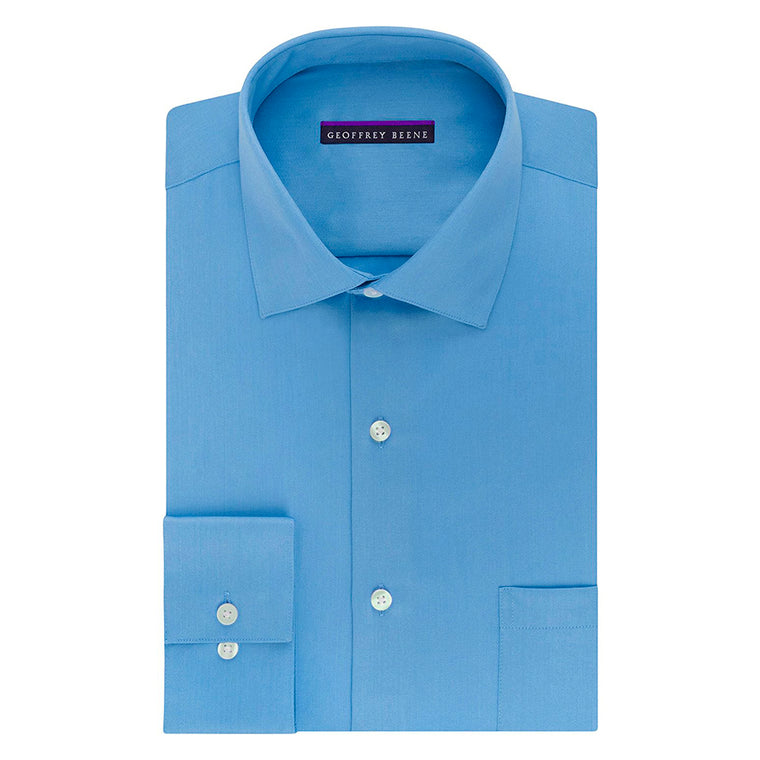 Geoffrey Beene Men's Sateen Fitted Solid Spread Collar Dress Shirt - Blue