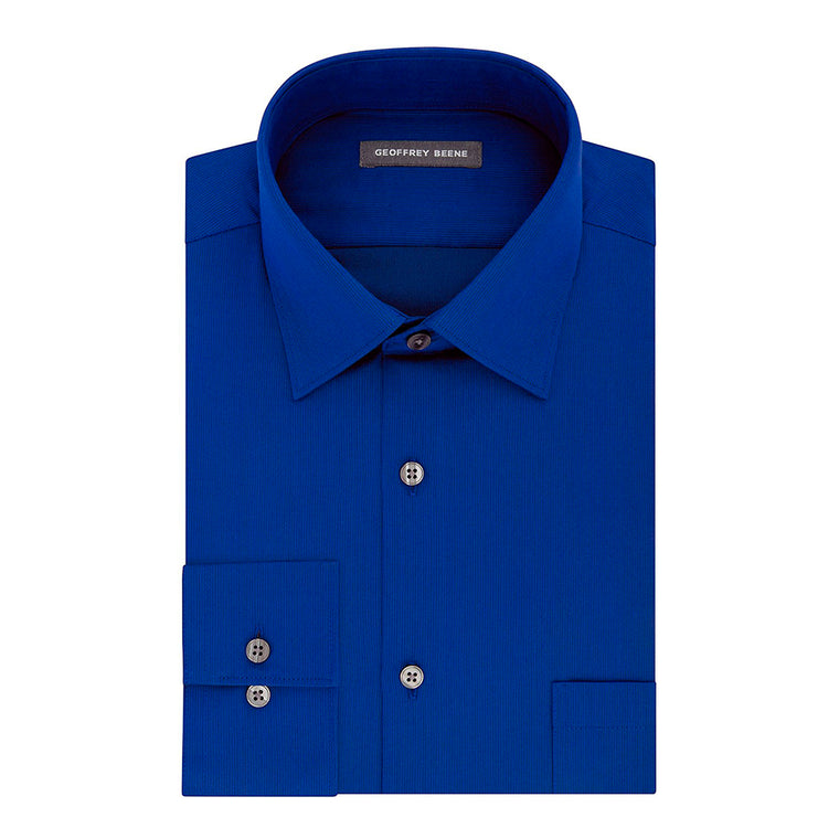 Geoffrey Beene Mens Dress Shirts Fitted Textured Sateen Spread Collar - Blue Graphite