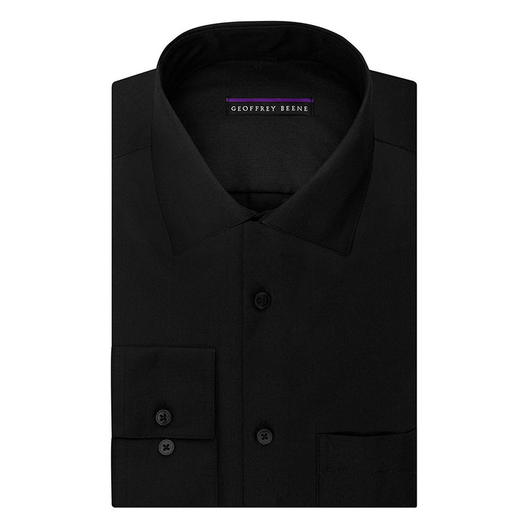 Geoffrey Beene Mens Dress Shirts Regular Fit Solid Sateen - Black