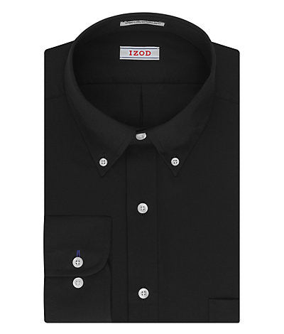 IZOD Regular Fit Quick Dry Twill Solid Dress Shirt - Black