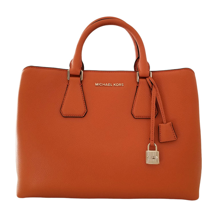 Michael Kors Camille Leather Satchel Tangerine