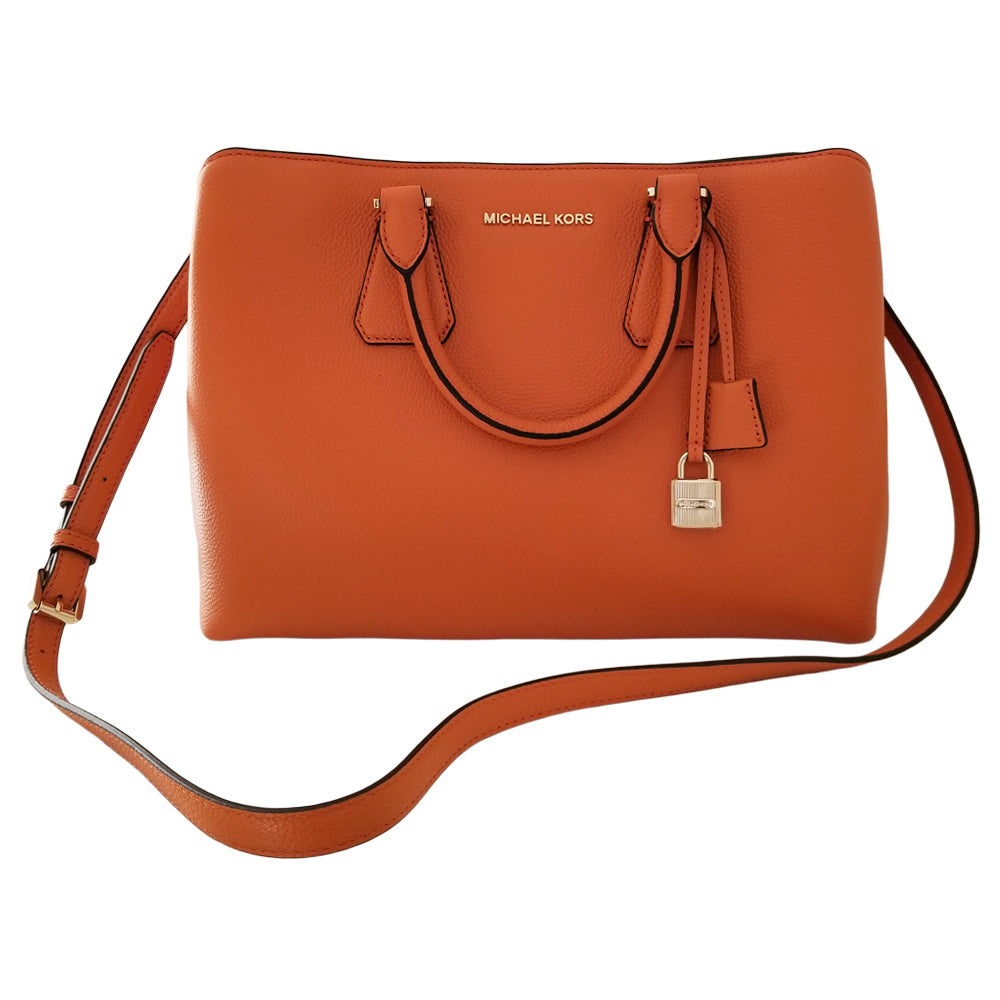 cd7a937e7be1 Michael Kors Camille Leather Satchel Tangerine – Zion Clothing   Accessories
