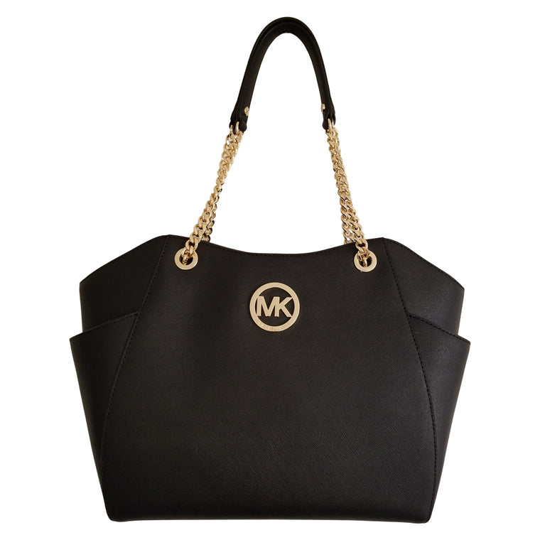 Michael Kors Jet Set Travel Large Chain Shoulder Tote Black