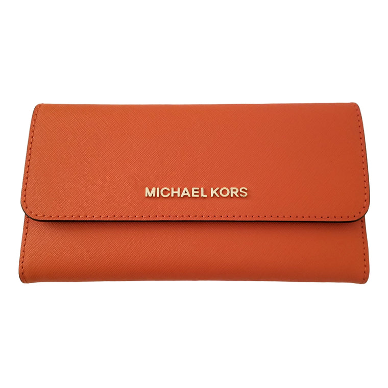 Michael Kors Jet Set Travel Large Trifold Wallet Tangerine
