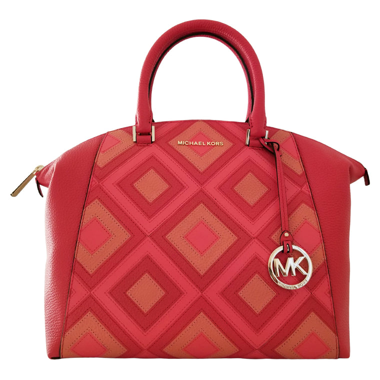 Michael Kors Riley Large Satchel Bag Leather DK Sangria