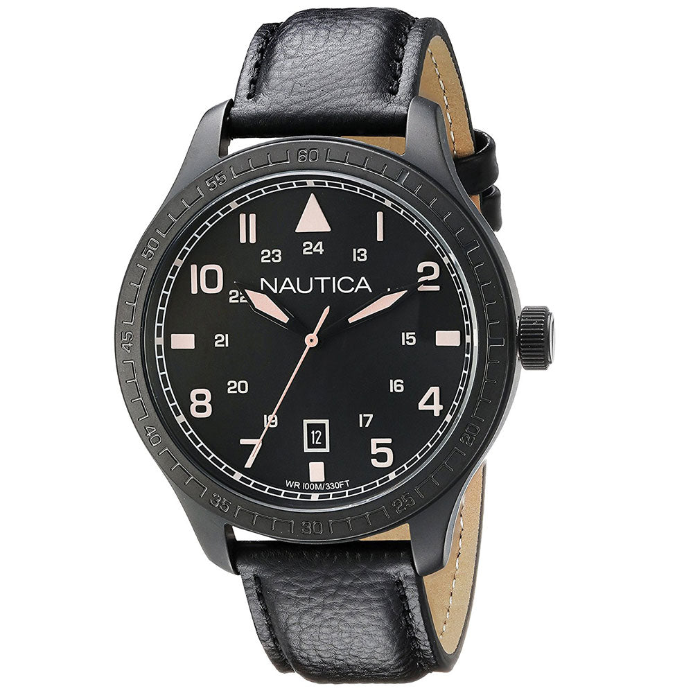 Nautica N11107G Men's Analog Display Black Leather Watch