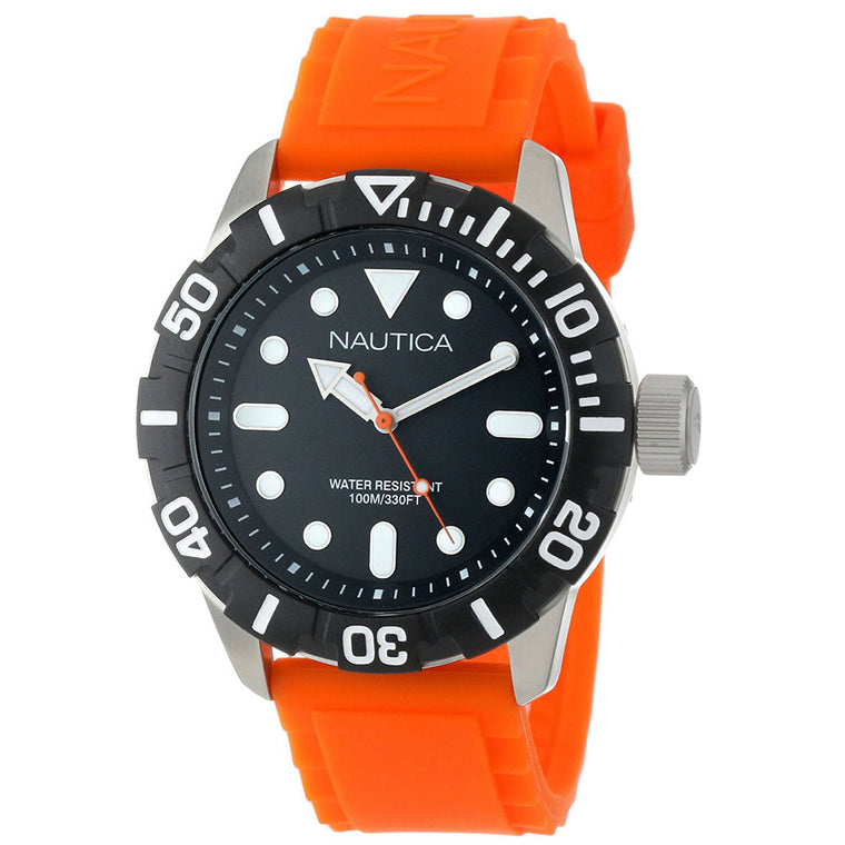 Nautica Men's N11602G Box Set Analog Orange Silicone Strap Watch