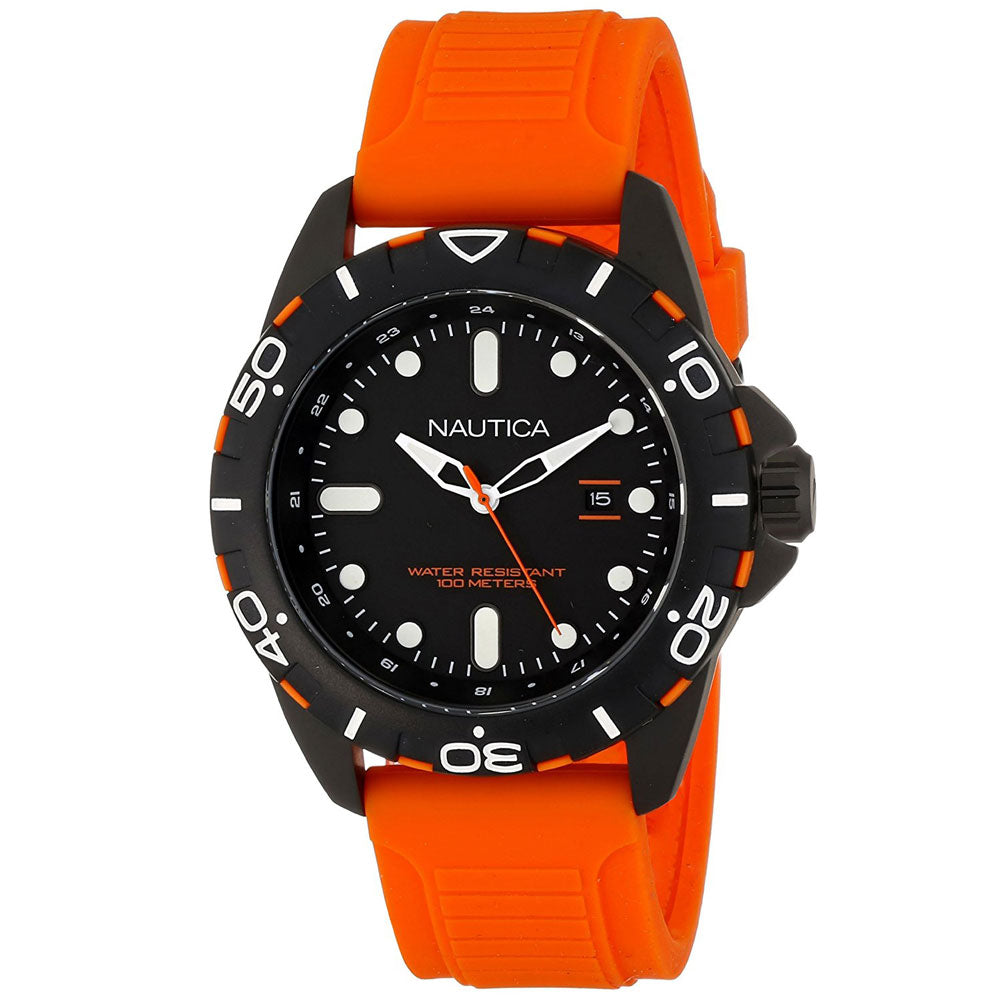 Nautica N11619G Men's Orange Diver's Style Silicone Strap Watch