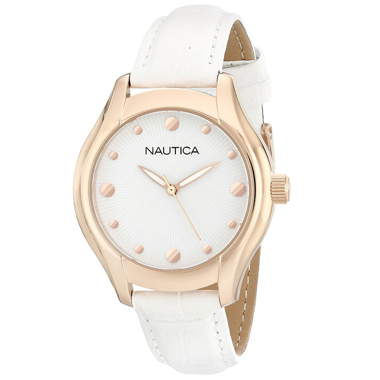 Nautica N11633M Women's Gold & White Leather Watch